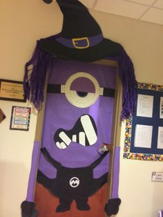 Purple minion Halloween door decoration for the preschool class