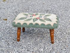 Vintage Footstool Hooked Top Green White Floral Wooden Legs