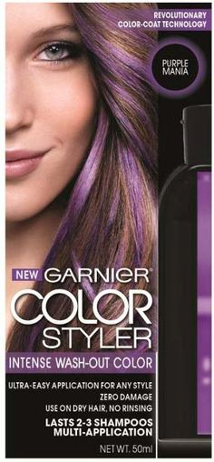 nice Garnier Hair Color Color Styler Intense Wash-Out Color, Purple Mania - All For Hair Color Balayage Wash Out Hair Color, Bold Hair Color, Kids Hair Color, Hair Colors, Best Temporary Hair Color, Garnier Hair Color, Color Fantasia, Bleaching Your Hair, Beauty Junkie