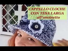 CAPPELLO CLOCHE CON TESA all'uncinetto - parte 1 di 2 - YouTube
