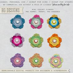 I have some vintage granny floral papers that would look great with these. Digital Scrapbooking Freebies, Scrapbook Supplies, Crochet Flowers, Scrapbooks, Free Printables, Crochet Earrings, Crochet Hats, Colours, Paper