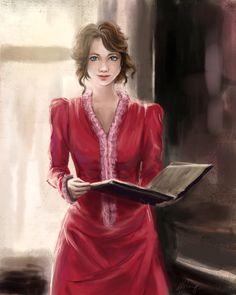 Tessa Gray. The book she's holding is the Shadowhunter Codex, she was reading that throughout the Clockwork Angel..