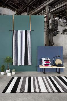 Pallas curtain and Futura rug by Riina Kuikka Close To Home, Japanese Culture, Home Collections, Textiles, Colours, Curtains, Rugs, Wallpaper, Inspiration