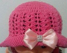 Chapéu para bebê rosa com laço Linha 100 % algodão tamanho de 0 a 4 meses 8b9d7393587