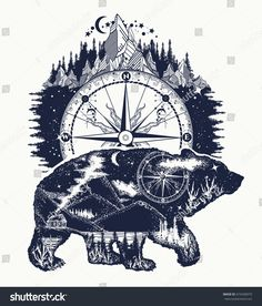 Bear double exposure, compass, mountains tattoo art. Grizzly silhouette t-shirt design. Tourism symbol, adventure, great outdoor