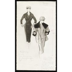 Marcel Fromenti (Illustrator) for 'The Lady' magazine. Designers - Marc Bohan and Hubert Givenchy (for Jean Patou) 1953-54