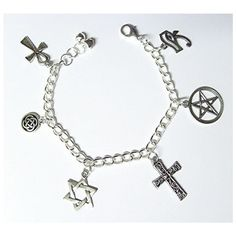 Mary Winchester's Protection Charm Bracelet In the Supernatural Hunt ❤ liked on Polyvore featuring jewelry, bracelets, charm bracelet bangle, charm bracelet and charm bracelet jewelry