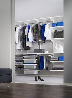 Elfa wardrobe solution Australia with white decor