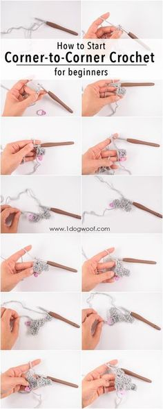 Crochet Stitches Patterns How to Start a Project - a Corner to Corner crochet pictorial for beginners - Nine step-by-step corner to corner crochet pictorials for beginners with large, clear images and matching instructions on how to crochet. Crochet Stitches Patterns, Crochet Patterns For Beginners, Crochet Basics, Knitting For Beginners, How To Crochet For Beginners, Crochet Tutorials, Crochet Ideas, Beginner Crochet, Crocheting For Beginners Tutorial