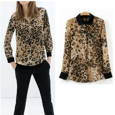 HOT ~ 2014 New Spring Summer Women's Leopard Print Contrast Lapel Collar Long sleeve Slim fit Shirts Tee Blouse Tops $13.47