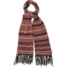 Pre-owned Missoni Wool Chevron Scarf ($145) ❤ liked on Polyvore featuring accessories, scarves, black, wool scarves, wool shawl, woolen shawl, fringe scarves and fringe shawl