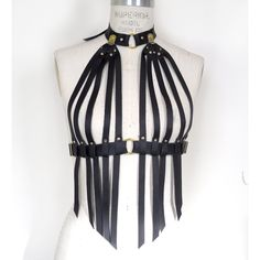 LoveLornLingerie Nina Leather Fringe Bra Strappy Cage Bra Black... ($80) ❤ liked on Polyvore featuring intimates, bras, grey, lingerie, women's clothing, sexy bras, strappy bra, harness bra, leather lingerie and black lingerie
