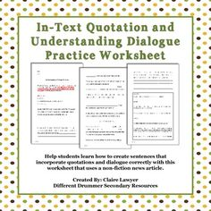 worksheet: In Text Citation Worksheets And Documentation ...