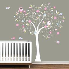 Items similar to Nursery Wall Decal Sticker Vinyl Wall Decals-Jelly Bean Tree with Branch-Play Room Nursery Decal on Etsy Baby Owl Nursery, Nursery Room, Girl Nursery, Girl Room, Baby Room, Nursery Decor, Wall Decor, Nursery Ideas, Girls Bedroom