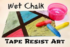 Wet Chalk Tape Resist Art - great independent art activity