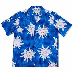 Manoa Cereus Blue Hawaiian Rayon Shirt