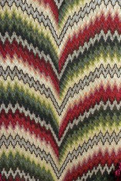 Close view of FLAME stitch [aka IRISH Stitch or Bargello] chair back