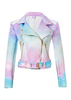 Sugarpills Clothing Ombre Pastel Goth Women's Moto Biker Jacket XS: Amazon.co.uk: Clothing