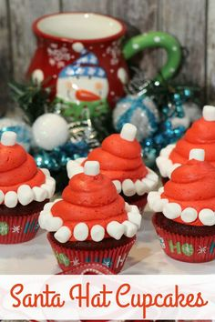 Santa Hat Cupcakes by Life with 4 Boys