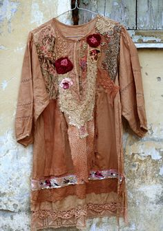 Cinnamon bohemian romantic tunic blouse hand by FleurBonheur