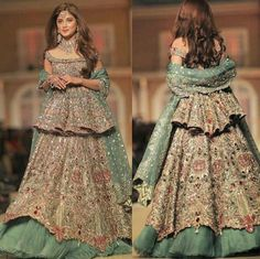 Latest Short peplum frock with formed lehenga for wedding brides in Pakistan Indian Fashion Dresses, Indian Gowns Dresses, Dress Indian Style, Indian Designer Outfits, Indian Outfits, Designer Dresses For Wedding, Pakistani Wedding Outfits, Pakistani Bridal Dresses, Pakistani Wedding Dresses