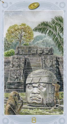 """Sacred Sites Tarot: Uaxactun/8 of Earth - """"For the Maya, time is sacred. An altar before the Uaxactun observatory makes sense...To be guided by the sacred calendar is to be in synchronicity with the stars."""" - Mary Jo McConahay"""