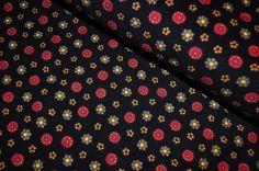 Stoff Blumen - Cord schwarz mit bunten Blümchen - ein Designerstück von Kruemel-Design bei DaWanda
