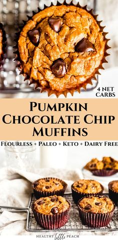 Flourless Keto Pumpkin Chocolate Chip Muffins that require minimal ingredients and only has 4 NET CARBS per muffin. These are the perfect sweet treat or dessert that won't wreck your diet. Paleo, Keto and Gluten Free. #ketomuffins #ketodesserts #keto #pumpkinmuffins #paleo #paleobaking #pumpkinrecipes #flourlessmuffins