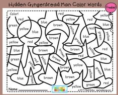 12 Days of Holiday Freebies, Day 5:  Hidden Gingerbread Man Color Words!