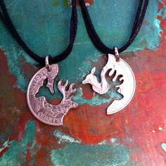 Buck and Doe couples necklace by PENNYPUZZLER on Etsy, $24.00