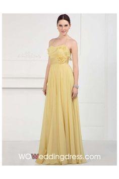 the Best Graceful Cascading Ruffles Flower Floor-Length Chiffon Bridesmaid Dress $122.26 in light sky blue @ woweddingdress.com