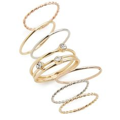 Women's Bp. Set Of 7 Assorted Rings (120 NOK) ❤ liked on Polyvore featuring jewelry, rings, stackers jewelry and stackable rings