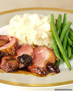 Make this seared magret duck breast with brandied cherry reduction sauce recipe courtesy of Emeril Lagasse, for a savory dinner. Creamy Garlic Mashed Potatoes, Creamed Potatoes, Duck Recipes, Potato Recipes, Game Recipes, Recipies, Party Recipes, Copycat Recipes, Yummy Recipes