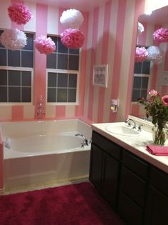 Really like the idea of having a super girly bathroom. along with another normal one