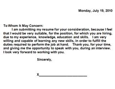 simple cover letter for a resume