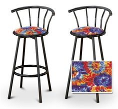 """2 Tie Dye Fabric Specialty / Custom Black Barstools with Backrest Set by The Furniture Cove. $145.87. Black Metal Finish. Set of 2 Bar Stools. These are new, 24"""" Black bar stools with footrests and swivel seats with a backrest! These Feature tie dye fabric seats that are cool and unique. The pads are 14"""" across and the seat is 24"""" tall. The entire height is 35"""". The sides of the seat have nice metal work and there are feet protectors on the bottom of each leg. ..."""