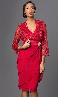 2fcb9aca7387 Knee Length Sally Fashion Dress with Jacket Fabulous Dresses