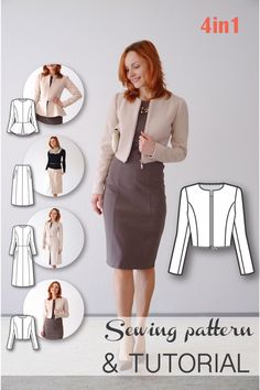 4-in-1 Transformable Coat Sewing Pattern - Coat Patterns - Jacket Patterns…