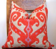 Orange & Lavender Ikat Pillow
