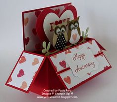 cute owl valentine long card in a box by Paula based on my template.