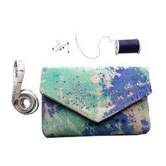 Blue and mint watercolor Clutch