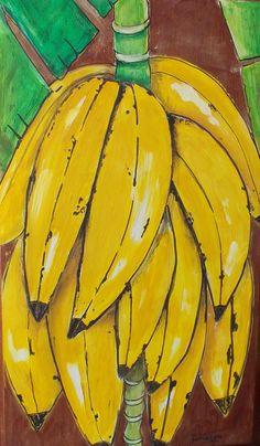 Pintura de bananas em madeira.