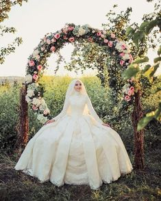 Image may contain: 1 person Hijabi Wedding, Muslim Wedding Gown, Muslimah Wedding Dress, Groom Wedding Dress, Muslim Wedding Dresses, Wedding Poses, Wedding Bride, Bridal Dresses, Muslim Brides