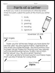 Writing a Thank You Letter Use this Thank You Letter Lesson to teach the parts of the letter. It's a great way to teach students about gratitude too and can be used any time of the year. They can write a letter to someone in the school such as a custodian (Custodian Day in October) or a lunch lady (School Lunch Hero Day in May). Clickherefor the lesson! Thanks for looking! 2nd grade 3rd grade 4th grade 5th grade letter writing thank you letter writing