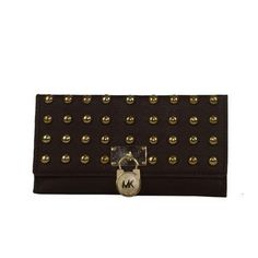 MICHAEL Michael Kors Large Hamilton Pyramid-Stud Flap Wallet Michael Kors Wallet, Louis Vuitton Monogram, Hamilton, Pattern, Bags, Fashion, Handbags, Moda, Patterns