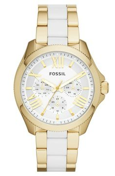 Fossil 'Cecile' Multifunction Resin Link Bracelet Watch, 40mm available at #Nordstrom