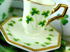 St. Patrick's Day Tea Cup The Nest at Finch Rest: Shamrock china tea things....