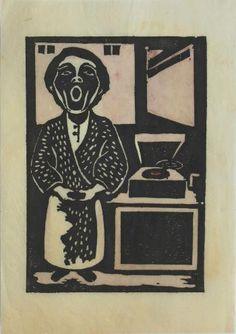 Yasunori Taninaka, Self-portrait, 1932 woodblock print