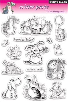 Amazon.com: Penny Black Clear Stamp Set, Critter Party: Arts, Crafts & Sewing