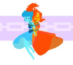 Lapis lazuli from steven universe and flame princess from adventure time